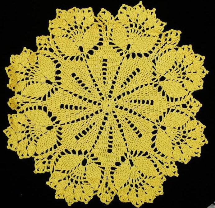 Вязание салфетки с тюльпанами крючком