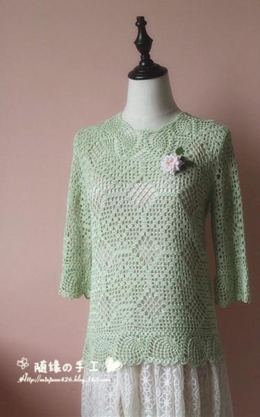 Пуловер с ананасовой отделкой