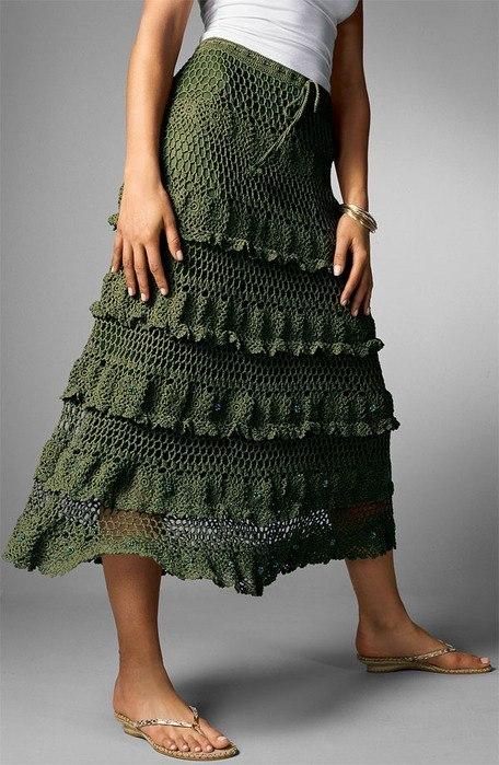 Ярусная юбка крючком