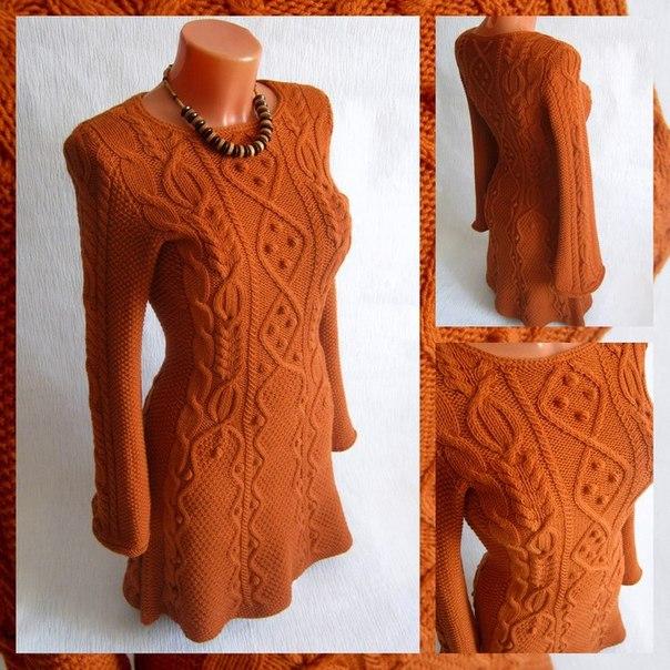 Узорчатое платье спицами