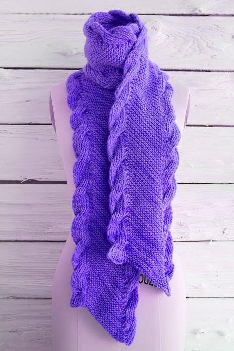 Вязание по косой спицами шарф 515