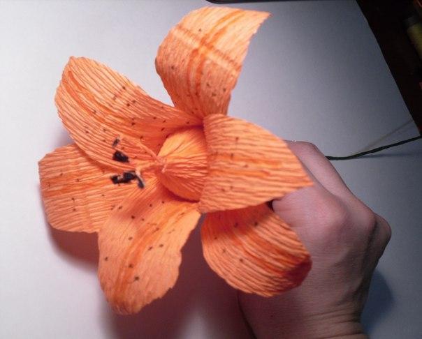 Лилия из конфет и гофрированной бумаги