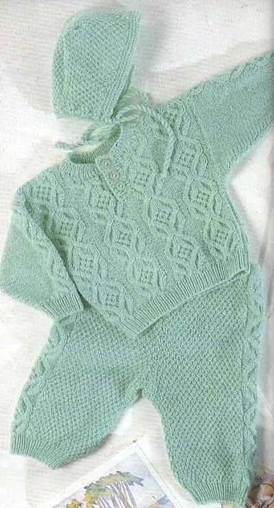 Пуловер ползунки и чепчик новорожденному