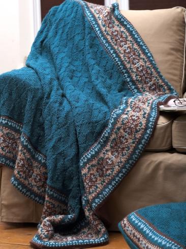 Покрывало и подушка спицами жаккардовым узором