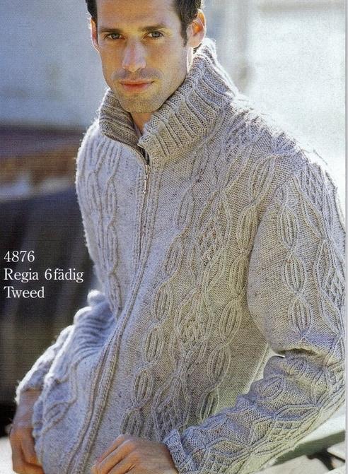 Теплый мужской свитер с высоким воротником