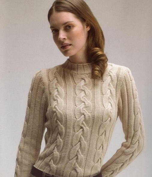 Женский джемпер с косами спицами схемы