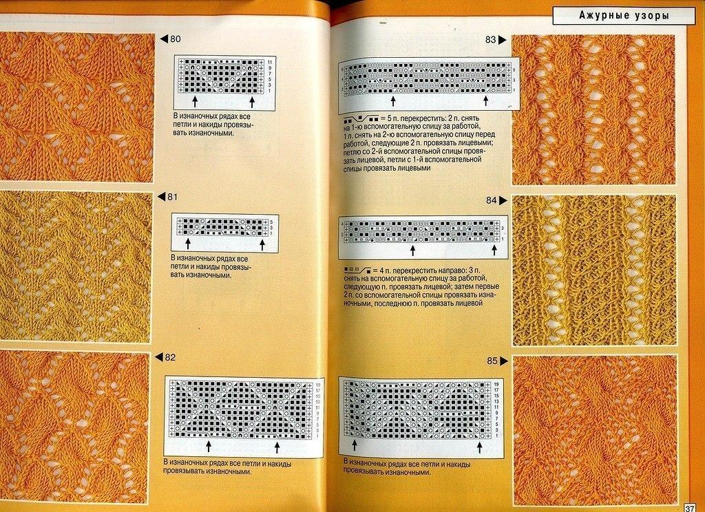 Сочетание ажурных узоров спицами