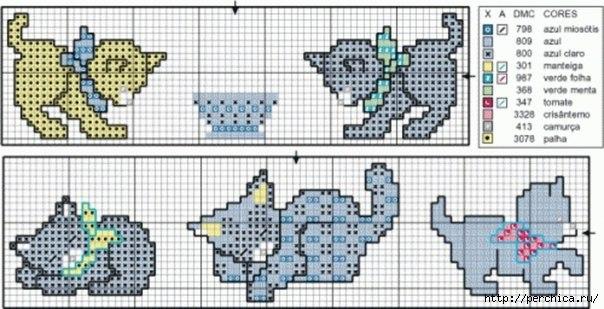 Схема для вязания спицами котенок