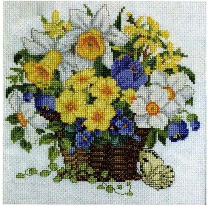 """Вышивка """"Корзинка с весенними цветами"""""""