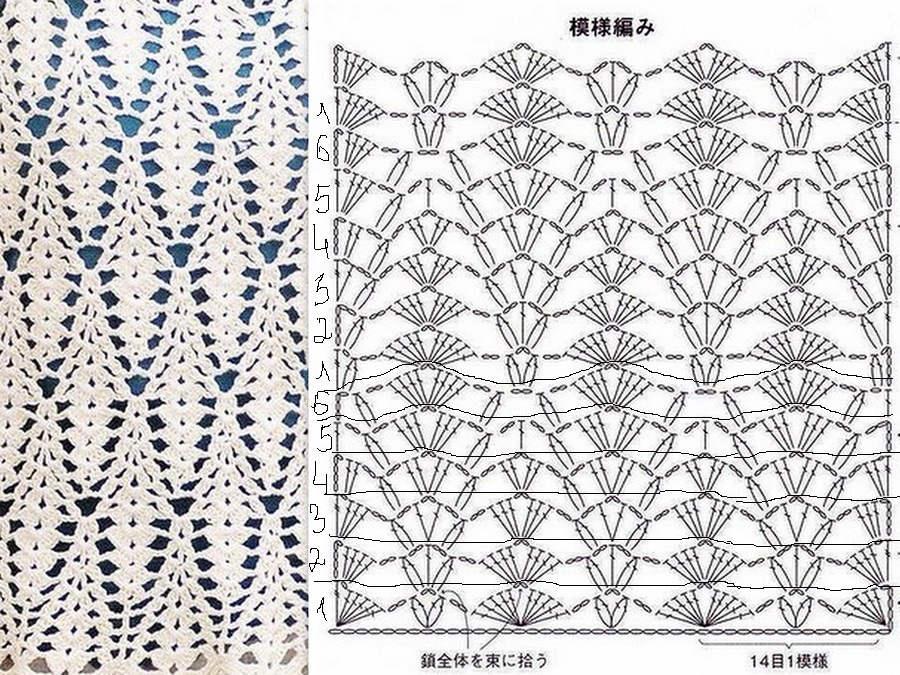 Длинная ажурная юбка крючком схема