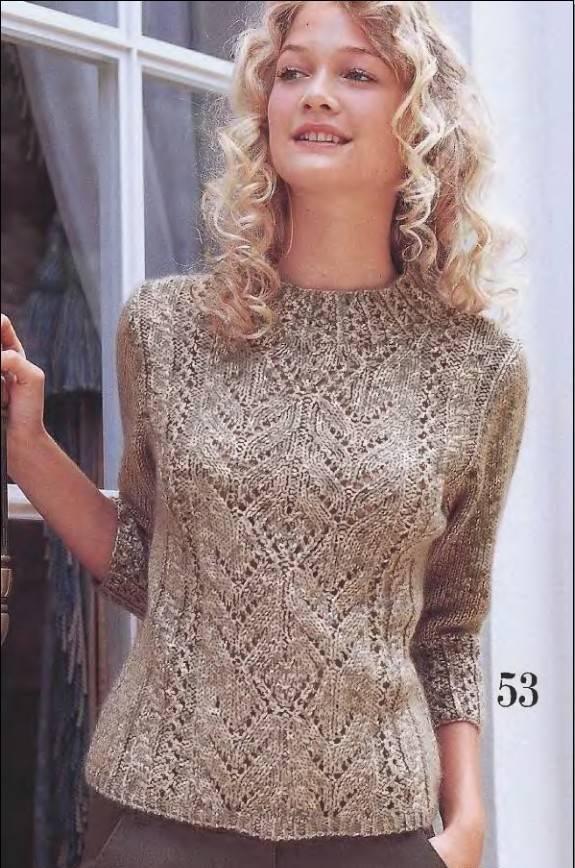 Пуловер спицами женский