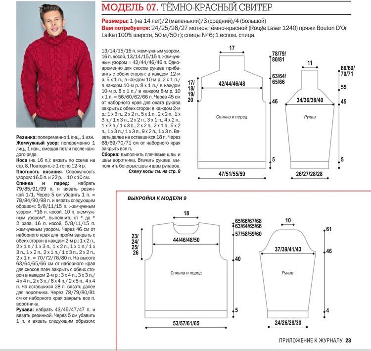 Мужской свитер регланом схема