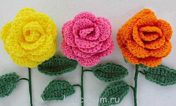вязание цветов розы крючком вязание