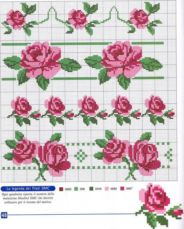 Вышивка на одежде схемы розы