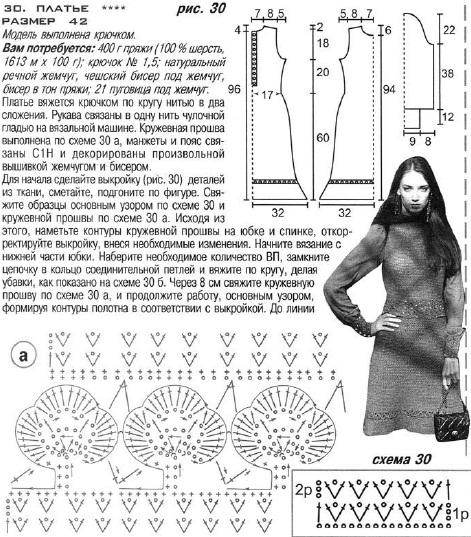 plat zel1 Теплое вязаное крючком платье