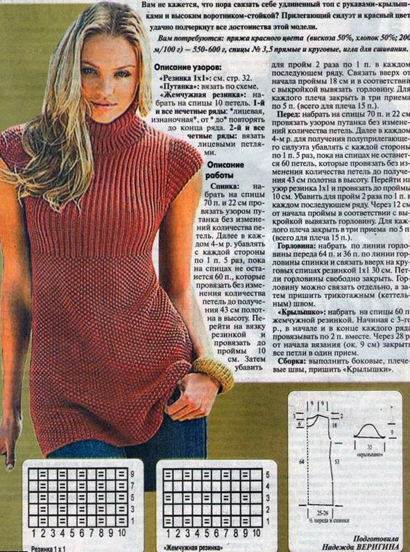 Модное вязание спицами туники