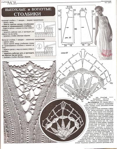 свадебное платье крючком схема