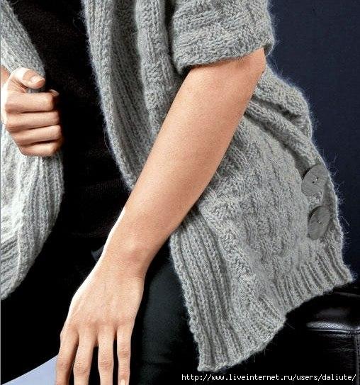 жилет, пончо, вязание, крючком, спицами, своими руками, вязаное, теплое, красивое, модное, женское, описание, схема, связать, рукоделие, творчество