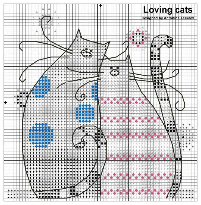 коты, влюбленные, вместе, вышивание, крестиком, крестом, своими руками, схема, рисунок, детская, красивая, яркая, вышивка, рукоделие, творчество