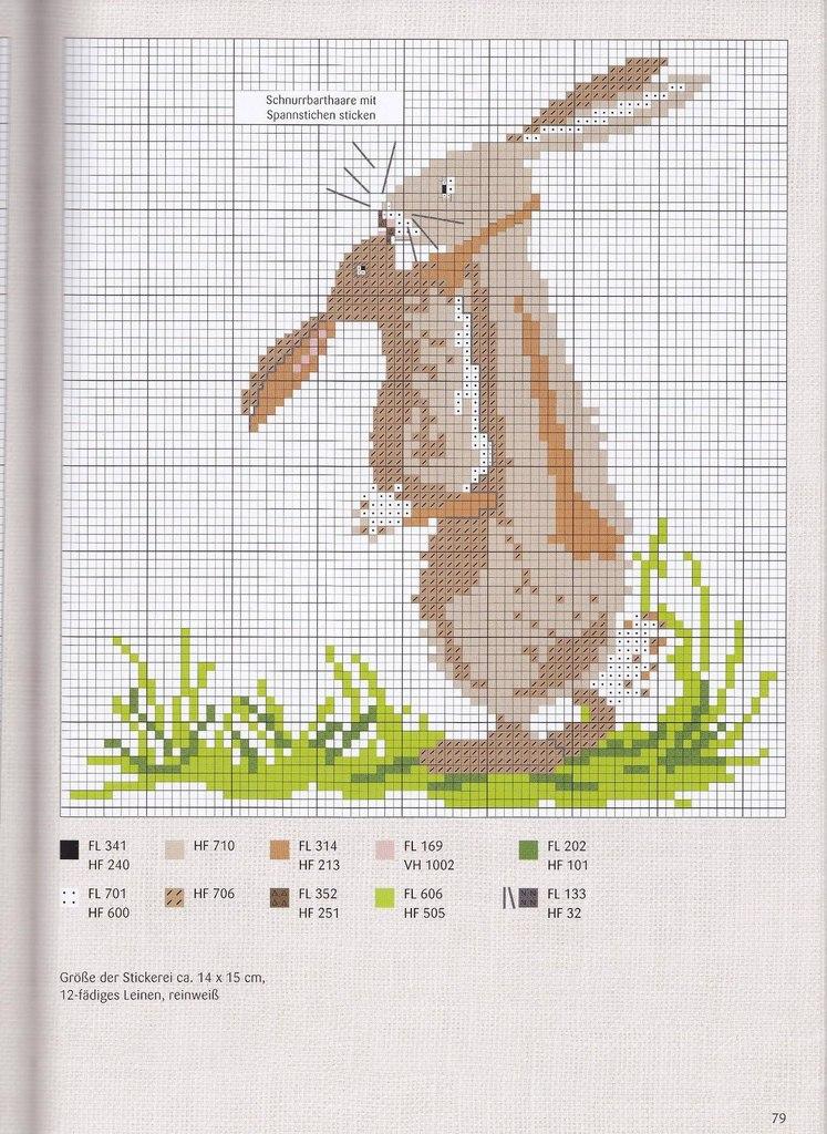 Вышивка крестом зайцы и схема к ним