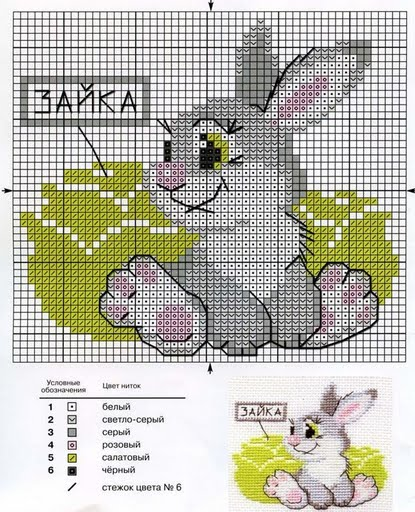 Схемы к вышивке зайчик