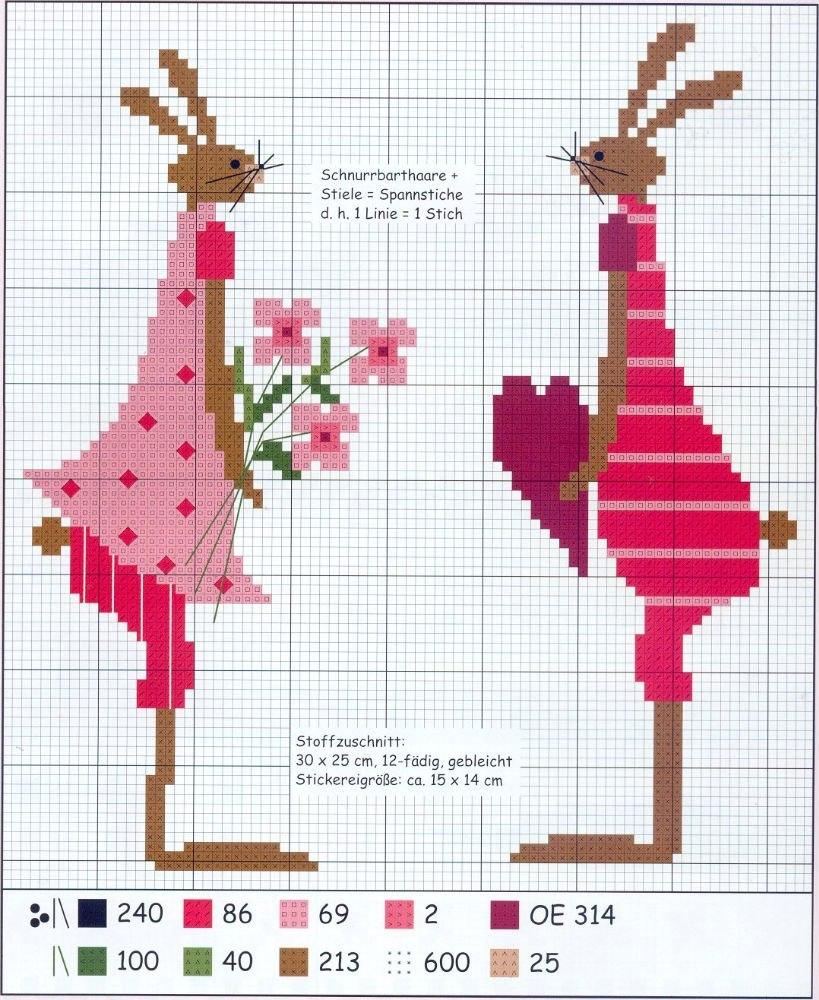 Схема вышивки крестом зайчик. вышивка крестом кролики схемы.