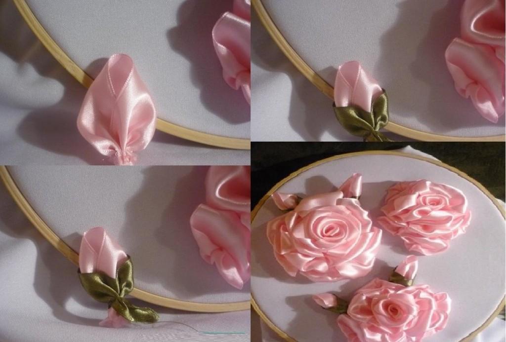 Вышивка лентами розы-мастер класс 65