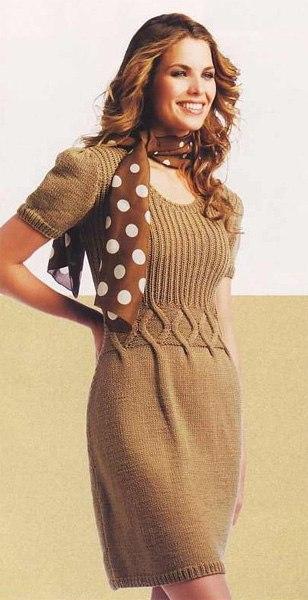 вязание спицами, платье, схема