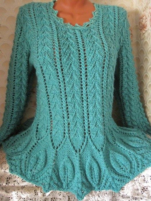 вязание спицами, пуловер, схемы