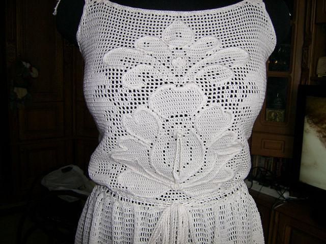 Вязание крючком платья туники топы филейное вязание