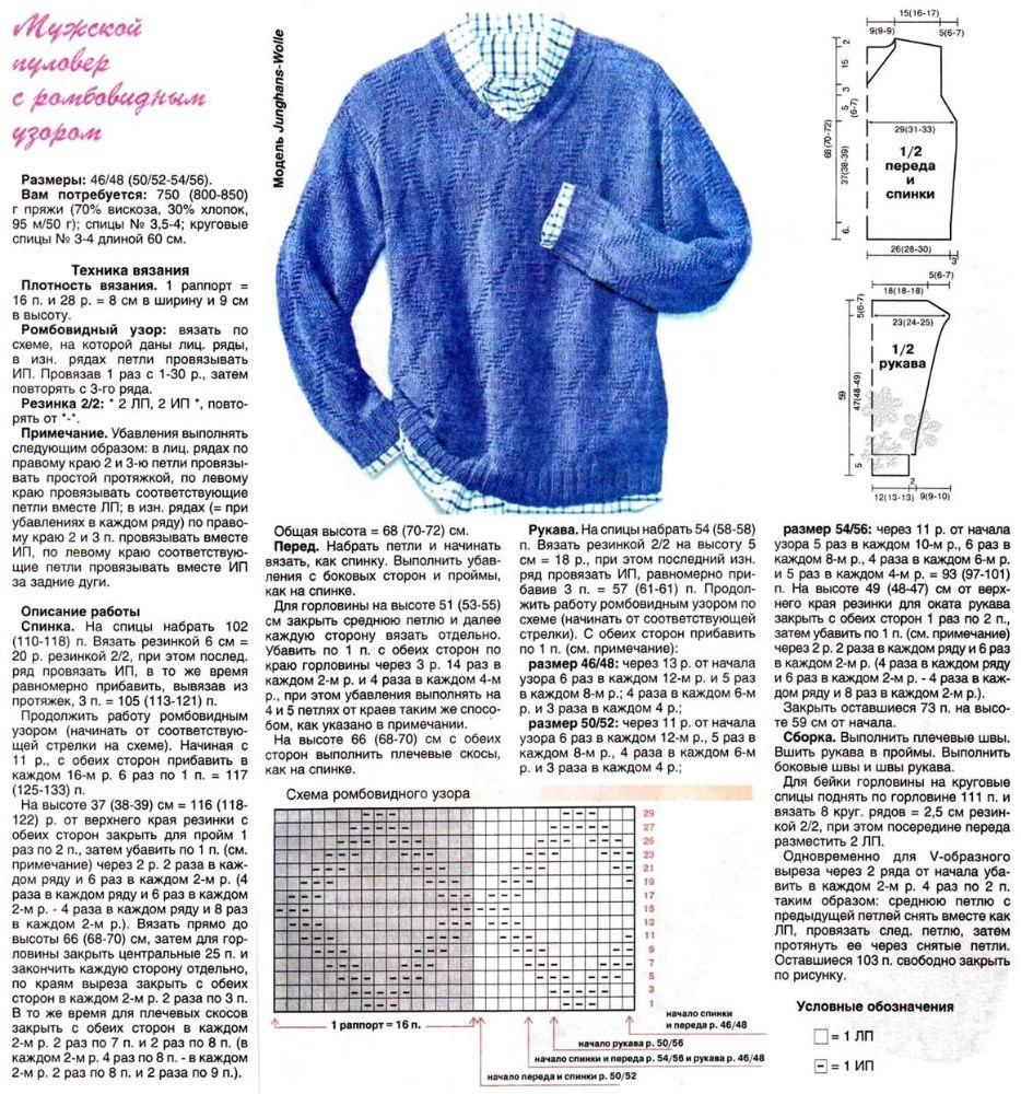 Модель мужского свитера схема