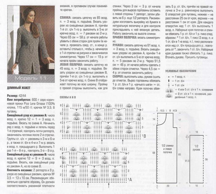 Кардиган тунисским вязанием схемы и описание 89