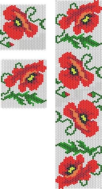мак мозаичным плетением схема