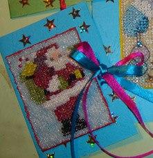 Праздником днем, рождественская открытка из бисера своими руками