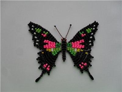 Фото бабочка из бисера схема