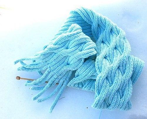 Связать шарф волна спицами