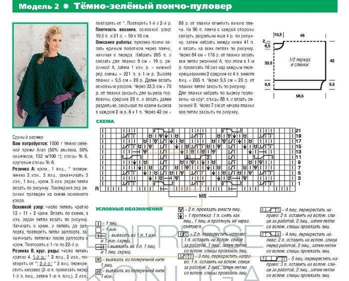 Схемы вязания спицами пончо накидки для женщин 22