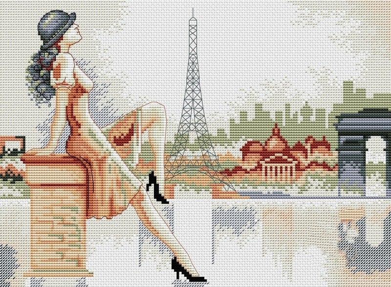Схемы вышивки крестом парижанок